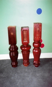 3 refurbished legs showing various colours