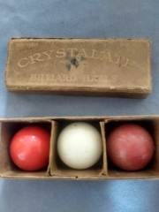 Old set of early crystalate billiard balls
