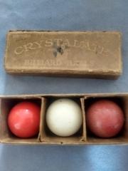Old set of early crystalate billiard balls