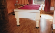 New beech pool table supplied by ourselves with burgundy cloth